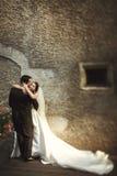 Sunlit романтичные пожененные пары на мосте при цветки полагаясь ag Стоковое фото RF
