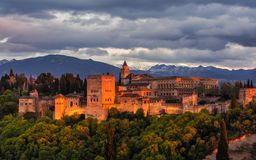 Beautiful Alhambra in sunset 3 stock images