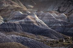 Sunlit badlands at Blue Mesa in Painted Desert National Park nea Royalty Free Stock Photo