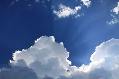 Sunlit on Blue and White Clouds during Daytime Stock Image