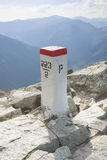 Sunlit Border Marker in Tatra Mountains Stock Images