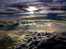 Sunlit clouds in horizon Royalty Free Stock Photo