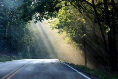 Sunlit country road. Scenic view of rays of sunlight or sunbeams over road in countryside Stock Photography