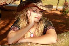 Sunlit Cowgirl Beauty Royalty Free Stock Photography