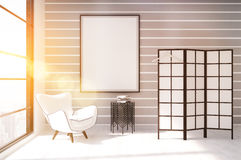 Sunlit dressing room. Dressing room with white armchair, coffee table, screen and vertical poster on wall. Concept of modern apartment. 3d rendering. Mock up royalty free illustration