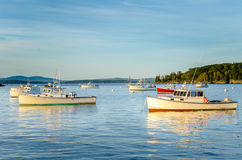 Sunlit Fishing Boats Stock Photo