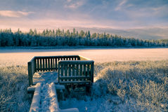 Sunlit frozen viewpoint Stock Photos
