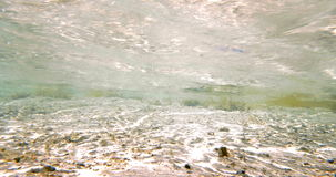 Sunlit ground and clear shallow water. Underwater shot of sunlit sand ground with water plants. Sunlight coming through clear wavy sea stock video