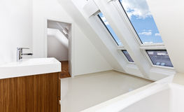 Sunlit modern bathroom of Contemporary apartment Stock Photo