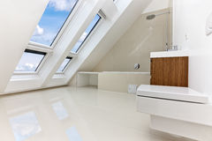 Sunlit modern bathroom of Contemporary apartment Royalty Free Stock Photo