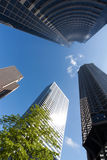 Sunlit modern office buildings. A group of modern skyscrapers in the sun stock photos