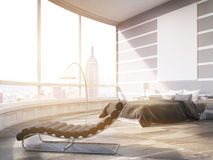 Sunlit New York City master bedroom in modern flat Royalty Free Stock Images