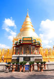 Sunlit Pagoda. Sunlight shining on a golden pagoda in a temple Stock Photography