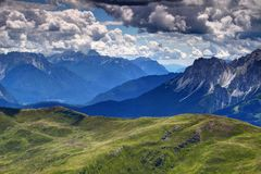 Sunlit Piave valley with Friuli and Sexten Dolomites Italy Royalty Free Stock Photography