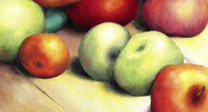 Sunlit ripe green and red apples. Royalty Free Stock Photo