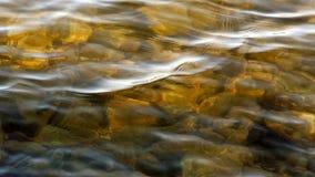 Sunlit shallow golden lake waters.  Rocks lying below surface. Stock Image