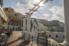 Sunlit terrace of Capri Island Stock Images