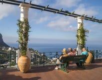 Sunlit terrace of Capri Island Royalty Free Stock Photography