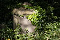 Sunlit tombs along Birdcage Walk in Bristol on May 13, 2019. BRISTOL, UK - MAY 13 : Sunlit tombs along Birdcage Walk in Bristol on May 13, 2019 stock image