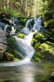 Sunlit Wasserfall Lizenzfreie Stockbilder
