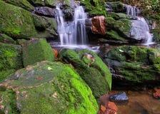 Sunlit Wasserfall Stockbild