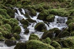 Sunlit Wasserfall Lizenzfreie Stockfotos