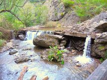 sunlit waterfall Royaltyfria Bilder