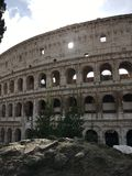 Sunlit window at the Colosseum, Rome stock photography