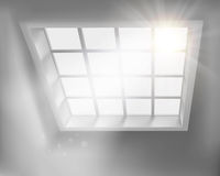 Sunlit window. Vector illustration. Sunlit window in living room. Vector illustration Stock Photo