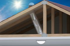 Sunlite light tube system for transporting natural daylight from roof into room. 3D rendered illustration Stock Image