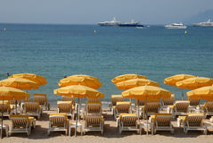 Sunlounger on the beach. In Cannes, southern France Stock Images