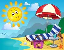 Sunlounger on beach image 1 Stock Photo