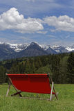 Sunlounger in the mountains. In spring Stock Photos