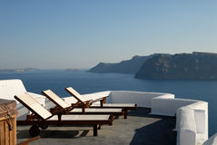 Sunlounger at the terrace Greece. Sunlounger at the terrace in Santorini, Greece Stock Image