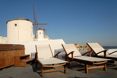 Sunlounger at the terrace, Greece. Sunlounger at the terrace in Santorini, Greece Stock Photos