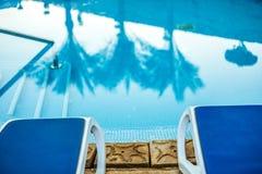 Sunloungers и бассейн крупного плана с отраженными ладонями в воде Стоковое Изображение RF