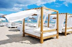 床和sunloungers在海滩在伊维萨岛,西班牙棍打 图库摄影