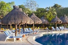 Sunloungers al lato di una piscina tropicale Fotografia Stock Libera da Diritti