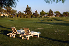 Sunloungers on golf court. Sunloungers on a golf court in palm springs california Royalty Free Stock Image