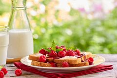 Sunmmer outdoor breakfast with toast and milk Stock Photo