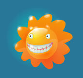 Sunny. Vector glossy smiling sun character Royalty Free Stock Photography