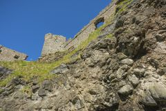A sunny afternoon at Dunluce castle.  royalty free stock images