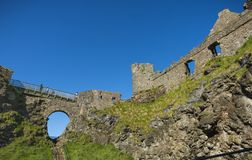 A sunny afternoon at Dunluce castle.  stock photos
