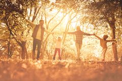Sunny afternoon family outings are the best. Family holding hands and enjoying in park royalty free stock image