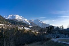 Sunny Afternoon is Fiesch Switzerland stock photo
