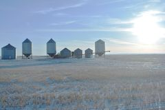 Sunny afternoon sky outside Moose Jaw, SK, Canada stock images