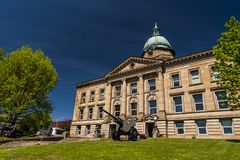 Historic Courthouse - Ironton, Ohio. A sunny afternoon view of the historic Lawrence County courthouse, built in the Neoclassical style with a domed roof in 1907 royalty free stock photos