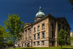 Historic Courthouse - Ironton, Ohio. A sunny afternoon view of the historic Lawrence County courthouse in Ironton, Ohio royalty free stock photo