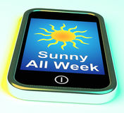 Sunny All Week On Phone Means Hot Weather Stock Photos