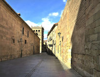 Sunny alley in the historic center Stock Photos